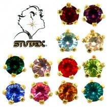 Assorted Earrings (Regular, Tiffany Setting, Gold Plated) (12 Pairs/Pack)