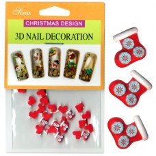 3D Nail Decoration Snowflake Stocking