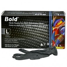 Bold Nitrile Disposable Gloves Black (Powder Free) Large (100/Box)