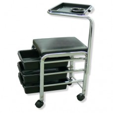 Black Square Stool with 3 Drawers & Tray Attachment (F-416)