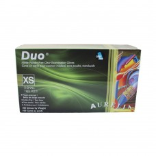 Duo Nitrile Disposable Gloves PF Clear XSmall (100/Box)