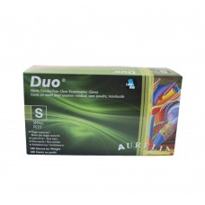 Duo Nitrile Disposable Gloves PF Clear Small (100/Box)