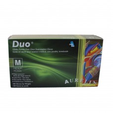 Duo Nitrile Disposable Gloves PF Clear Med (100/Box)