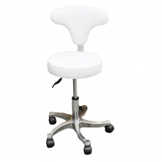 White Gas-Lift Stool w Adjustable Back Support