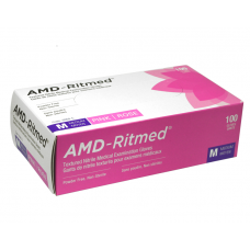 AMD Nitrile Disposable Gloves Pink (Powder Free) Med (100/Box)