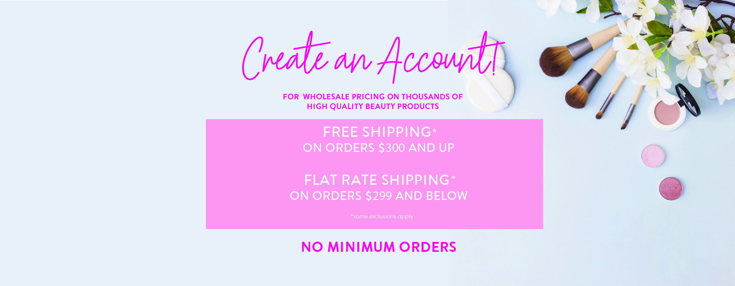 Create an account & shipping