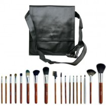 18-Piece Makeup Brush Set with Black Shoulder Bag (Natural Bristles)