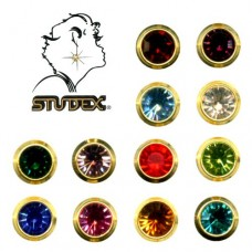 Assorted Earrings (Mini, Bezel Setting, Gold Plated) (12 Pairs/Pack)