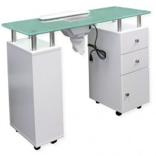 White Manicure Table with Glass Top & Dust Collector