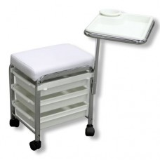 White Square Stool with 3 Drawers & Tray Attachment (F-416)