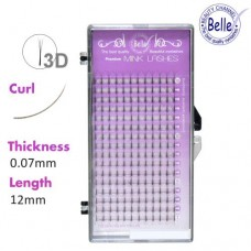 3D Eyelash B-Curl Mink 0.07x12mm (16 Rows)