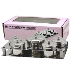 5-Piece Nail Container Set With Lids (Stainless Steel)
