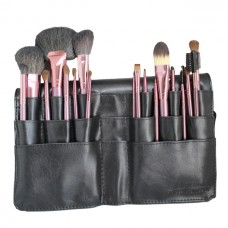 18-Piece Makeup Brush Set with Black Waist Belt Bag (Natural Bristles)
