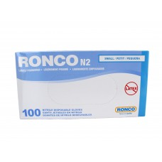 Ronco Nitrile Disposable Gloves Blue (Light Powder) Small (100/Box)