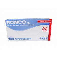 Ronco Nitrile Disposable Gloves Blue (Light Powder) Medium (100/Box)