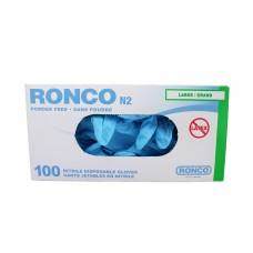 Ronco Nitrile Disposable Gloves Blue (Powder Free) Large (100/Box)