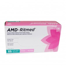 AMD Nitrile Disposable Gloves Pink (Powder Free) XSmall (100/Box)