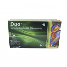 Duo Nitrile Disposable Gloves PF Clear Large (100/Box)